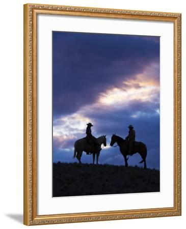Cowboys in Silouette with Sunset-Terry Eggers-Framed Photographic Print