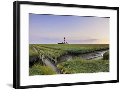 Westerhever Lighthouse, North Sea, Schleswig-Holstein, Westerheversand, Wadden Sea-Herbert Kehrer-Framed Photographic Print