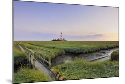 Westerhever Lighthouse, North Sea, Schleswig-Holstein, Westerheversand, Wadden Sea-Herbert Kehrer-Mounted Photographic Print