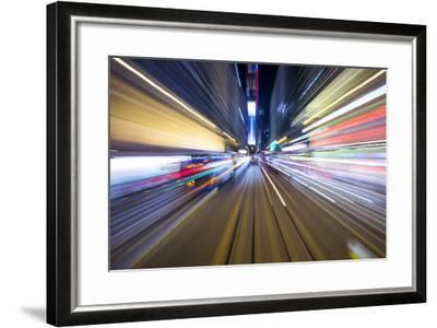 Street Lights from Hong Kong Tramway Street Car, China-Paul Souders-Framed Photographic Print
