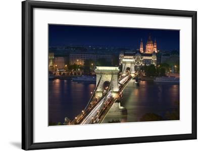 View of Chain Bridge and Pest-Jon Hicks-Framed Photographic Print