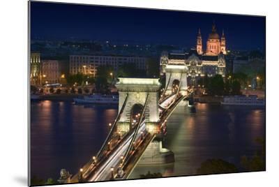 View of Chain Bridge and Pest-Jon Hicks-Mounted Photographic Print