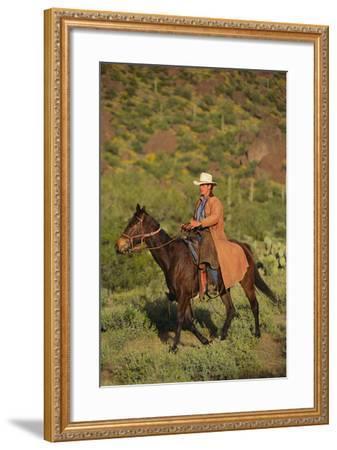 Cowboy Riding a Horse-DLILLC-Framed Photographic Print