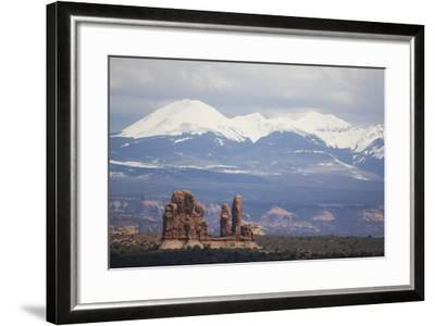 Sandstone Formations and Snowcapped Mountains-DLILLC-Framed Photographic Print