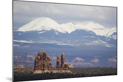 Sandstone Formations and Snowcapped Mountains-DLILLC-Mounted Photographic Print