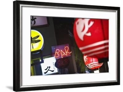 The Night Time Entertainment District of Pontocho.-Jon Hicks-Framed Photographic Print