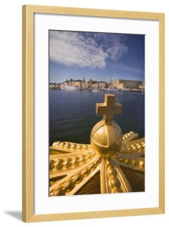 An Ornamental Crown of the Skeppsholmsbron, with Gamla Stan across the Water-Jon Hicks-Framed Photographic Print