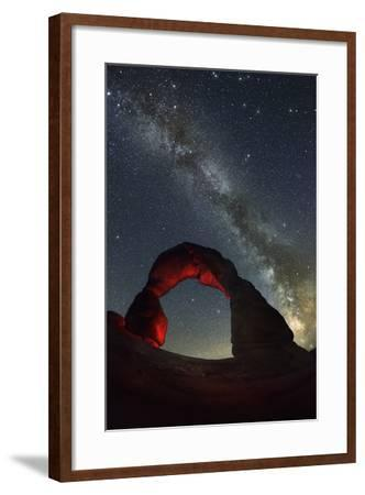 Delicate Arch and the Milky Way.-Jon Hicks-Framed Photographic Print