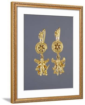 Greek Disk Earrings with Eros Pendants--Framed Photographic Print