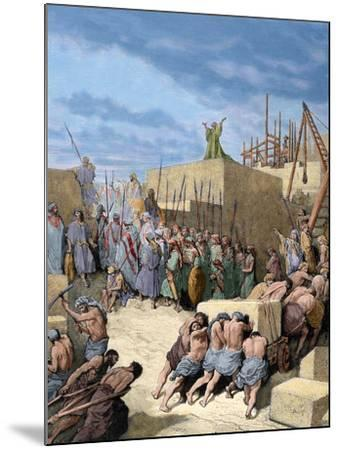 Old Testament. Return from the Babylonian Exile. Reconstruction of the Temple. Engraving. Colored.-Tarker-Mounted Photographic Print