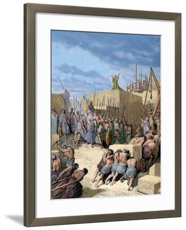 Old Testament. Return from the Babylonian Exile. Reconstruction of the Temple. Engraving. Colored.-Tarker-Framed Photographic Print