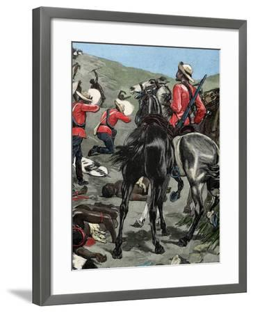Anglo-Zulu War. Fought in 1879 between the British Empire and the Zulu Kingdom. Engraving. Colored.-Tarker-Framed Photographic Print