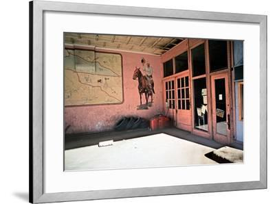 Tire Repair Place with Western Mural, Downtown Las Vegas, New Mexico, Usa, 1979-Alain Le Garsmeur-Framed Photographic Print