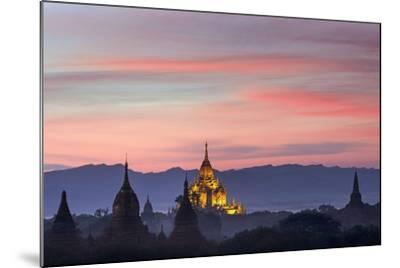 Sunset over Bagan-Jon Hicks-Mounted Photographic Print