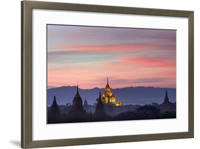 Sunset over Bagan-Jon Hicks-Framed Photographic Print