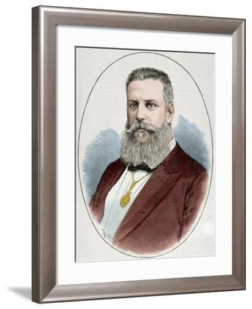 Santiago Estrada (1841-1891). Writer and Journalist. Engraving. Colored.-Tarker-Framed Photographic Print