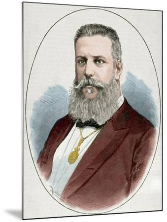 Santiago Estrada (1841-1891). Writer and Journalist. Engraving. Colored.-Tarker-Mounted Photographic Print