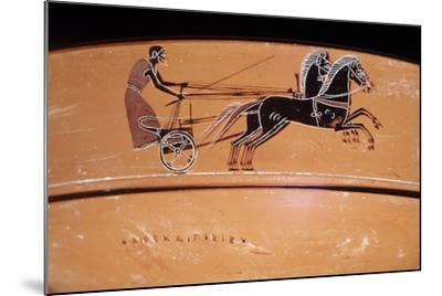Etruscan Art: a Chariot Drawn by Two Horses (On a Vase)--Mounted Photographic Print