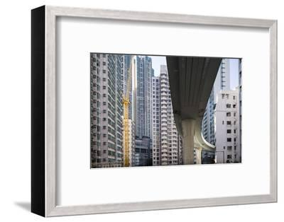Highway Overpass and Apartment Towers, Hong Kong, China-Paul Souders-Framed Photographic Print