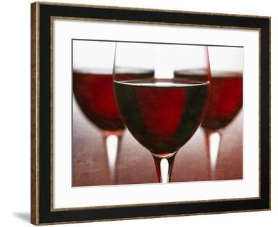Three Stemmed Glasses of Red Wine-Steve Lupton-Framed Photographic Print