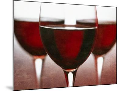 Three Stemmed Glasses of Red Wine-Steve Lupton-Mounted Photographic Print