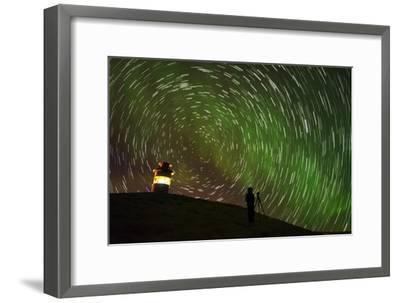 Star Trails and Aurora Borealis or Northern Lights, Iceland-Arctic-Images-Framed Photographic Print