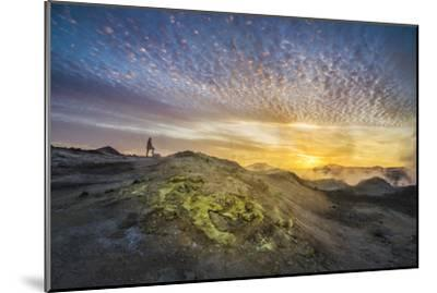 Tourist in Geothermal Landscape at Sunset, Iceland-Arctic-Images-Mounted Photographic Print