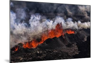 Volcano Eruption at the Holuhraun Fissure near Bardarbunga Volcano, Iceland-Arctic-Images-Mounted Photographic Print
