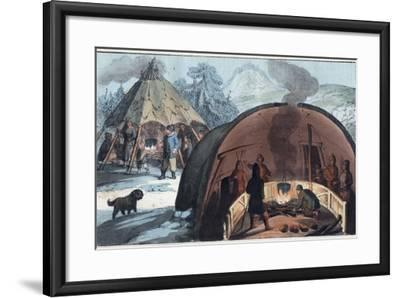 Interior of a Laplander Hut with a Family around the Fire-Stefano Bianchetti-Framed Photographic Print