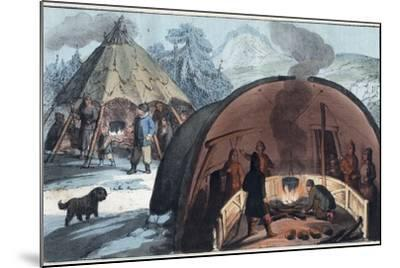 Interior of a Laplander Hut with a Family around the Fire-Stefano Bianchetti-Mounted Photographic Print