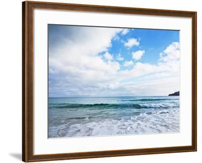 Cloudy Sky over Sea with Some Waves-Norbert Schaefer-Framed Photographic Print