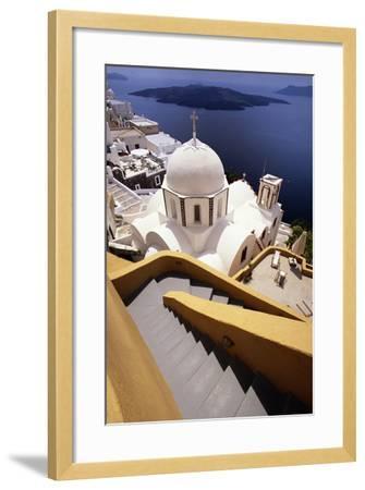 Stairway and Whitewashed Church-Jon Hicks-Framed Photographic Print