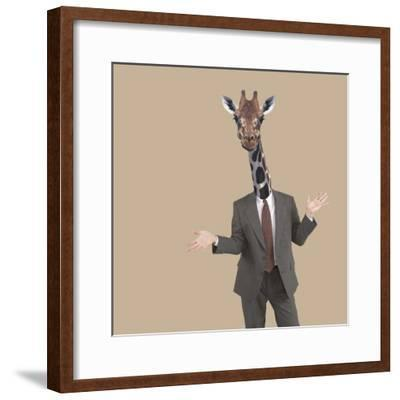 Businessman Sticking Neck Out-DLILLC-Framed Photographic Print