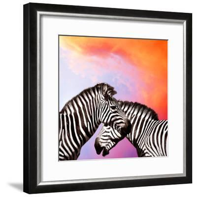 Two Zebras On The Sky-yuran-78-Framed Photographic Print