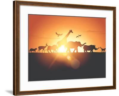 Sunset Safari-Solarseven-Framed Photographic Print