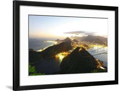 Night Panoramic View Of Rio De Janeiro-luiz rocha-Framed Photographic Print