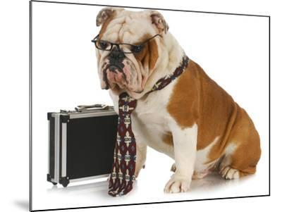 Business Dog - English Bulldog Male Wearing Tie And Glasses Sitting Beside Briefcase-Willee Cole-Mounted Photographic Print
