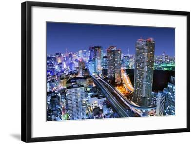 Dense Buildings In Minato-Ku, Tokyo Japan With Tokyo Sky Tree Visible On The Horizon-SeanPavonePhoto-Framed Photographic Print