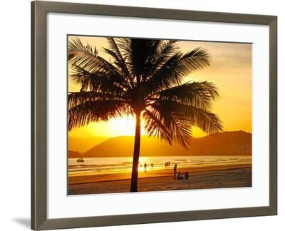 Beautiful Golden Sunset On The Beach Of The City Of Santos In Brazil-fabio fersa-Framed Photographic Print