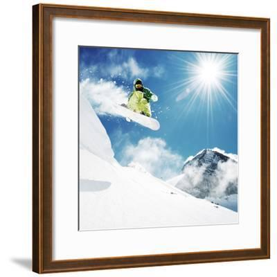 Snowboarder At Jump Inhigh Mountains At Sunny Day-dellm60-Framed Photographic Print