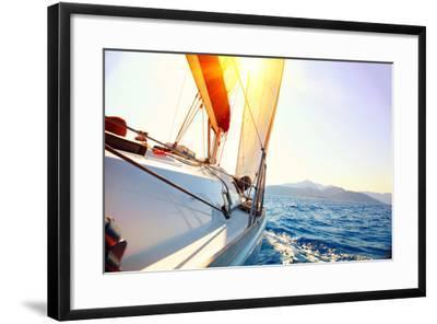 Yacht Sailing Against Sunset. Sailboat. Yachting. Sailing. Travel Concept. Vacation-Subbotina Anna-Framed Photographic Print