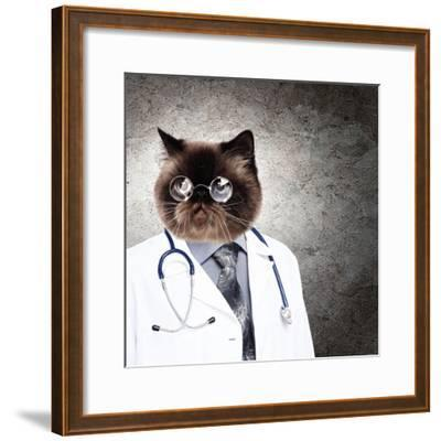 Funny Fluffy Cat Doctor In A Robe And Glasses. Collage-Sergey Nivens-Framed Photographic Print