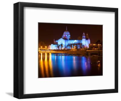 Galway Cathedral Lit Up Blue-rihardzz-Framed Photographic Print