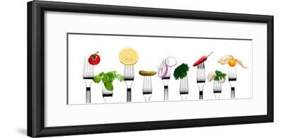 Variety of Vegetarian Food on Forks-foodbytes-Framed Photographic Print