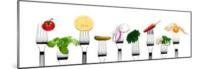 Variety of Vegetarian Food on Forks-foodbytes-Mounted Photographic Print