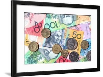Full-Frame of Australian Notes and Coins-Robyn Mackenzie-Framed Photographic Print