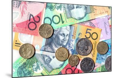Full-Frame of Australian Notes and Coins-Robyn Mackenzie-Mounted Photographic Print