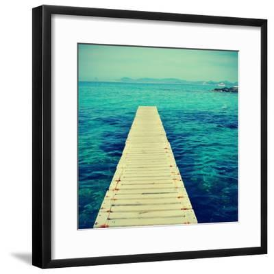Boardwalk in Ses Illetes Beach in Formentera, Balearic Islands-nito-Framed Photographic Print