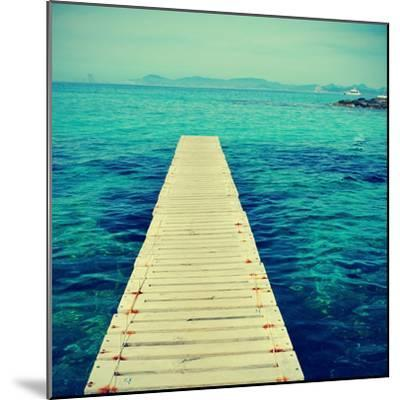 Boardwalk in Ses Illetes Beach in Formentera, Balearic Islands-nito-Mounted Photographic Print