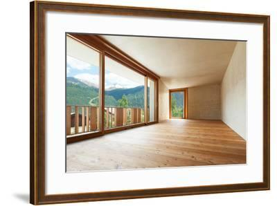 New Apartment in Cement and Wood, Empty Room with Windows-zveiger-Framed Photographic Print